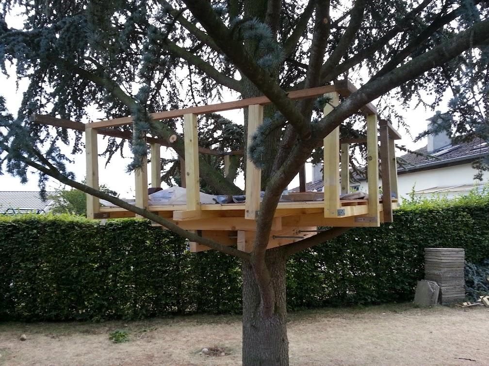 Fabriquer Une Cabane En Bois Dans Un Arbre : Un plateau, c?est bien, mais 2 m c?est haut et on peut se faire